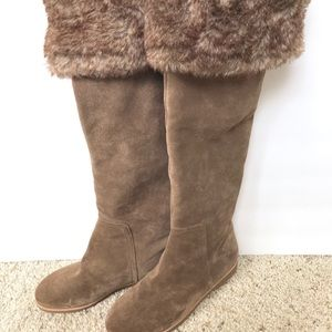 Shoes - NWT Sam Edelman Taupe Brown Suede Fur Boots 7.5